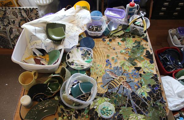 Mosaic work table